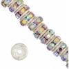 Rhinestone Rondelle (Flat Round) 4.5mm Silver/Crystal Aurora Borealis